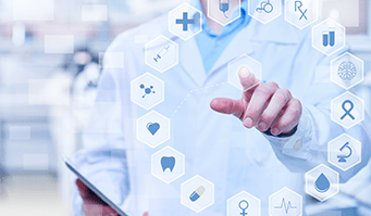 Healthcare And Medicine. Unrecognizable medical worker in lab coat touching digital display with various medical icons and holding digital tablet. Its photo containing digitally generated image. It is perfect for using it in commercial and advertising photography, reports, books, presentation.
