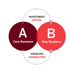 Transformation - A Core Business - B New Business - Investment Capital - Enabling Capabilities