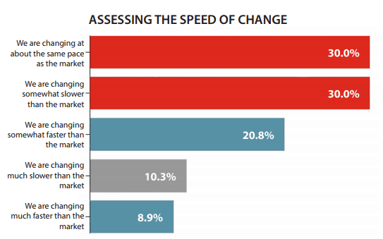 Assessing the Speed of Change - Question: Please Describe the pace at which your organization is currently able to respond to marketplace disruption.